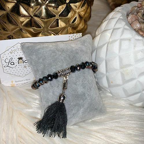 Bracelet Pompon en perles NOIR