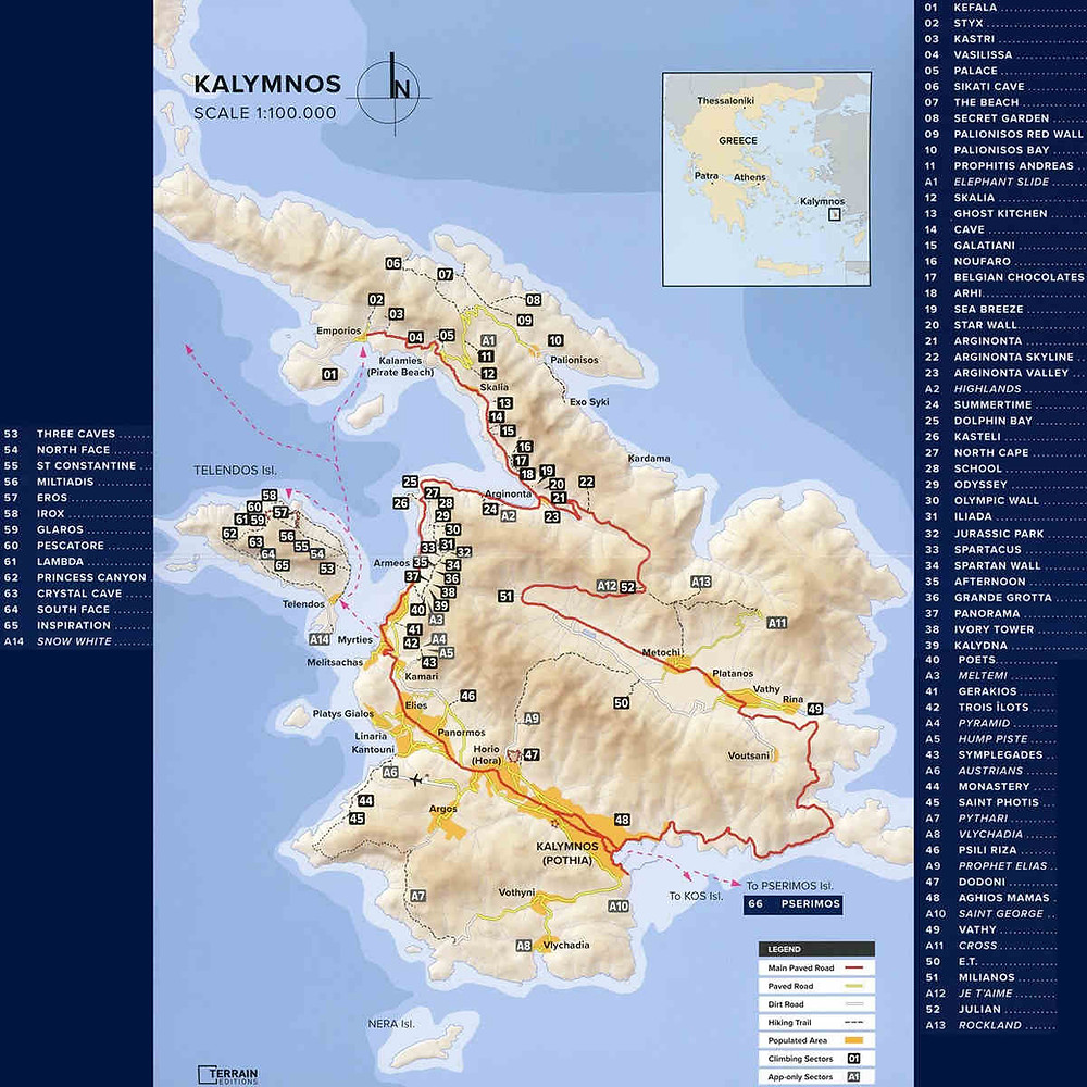 Map of Kalymnos, climbing guidebook