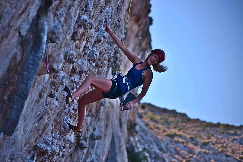 Climbing, kalymnos, secret garden, top rope, smiling
