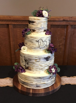 Four tiered birch cake
