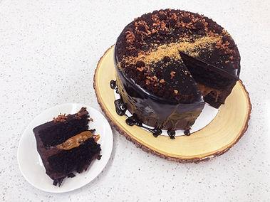 Dark chocolate salted caramel sliced