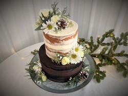 Light & dark almost naked wedding cake