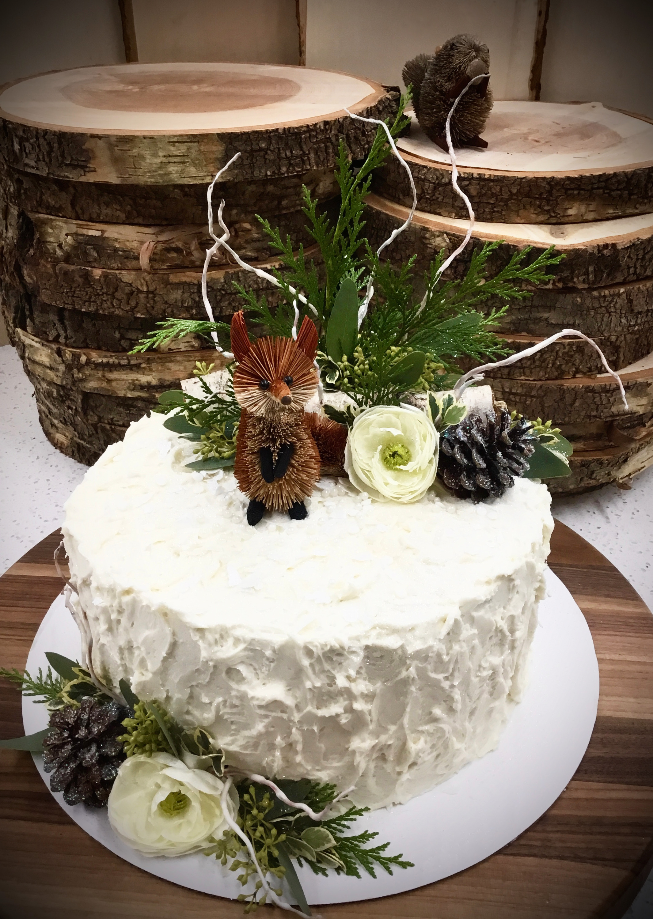 Winter wonderland birch & fox cake