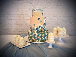Petals & pearl watercolor cake