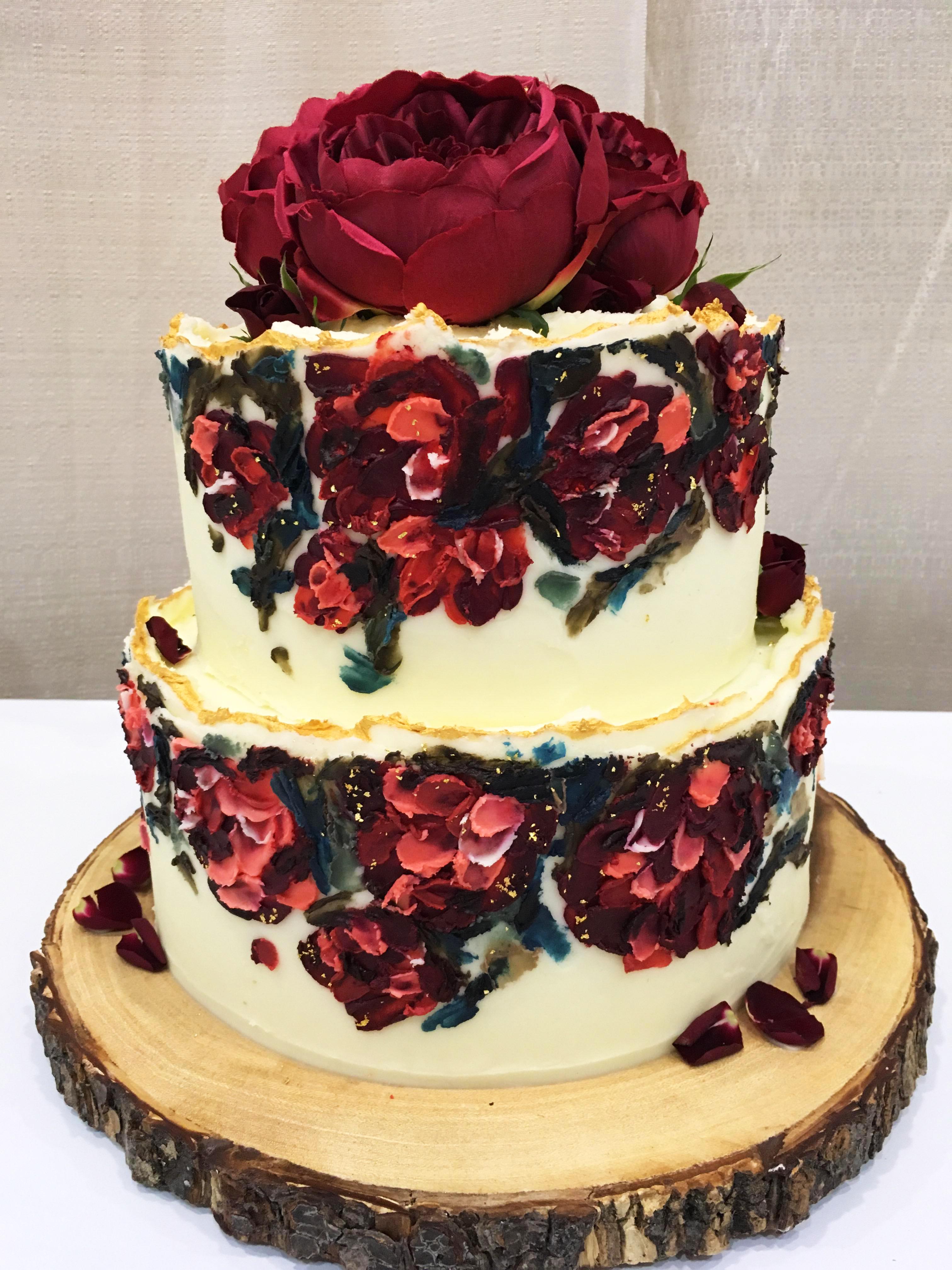 Impressionist hand painted cake