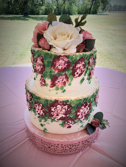 Rose Gold Handpainted Floral Cake