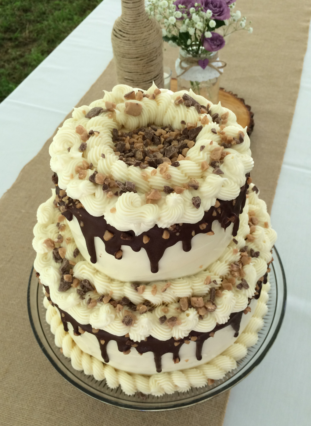 Chocolate Caramel Toffee wedding cake