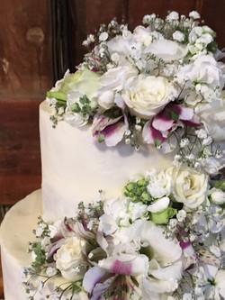 Semi-naked cutting cake close up