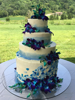 Four tiered feather blue ombre