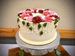 Custom buttercream floral cutting cake