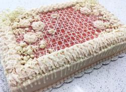 Raspberry Key Lime half sheet cake