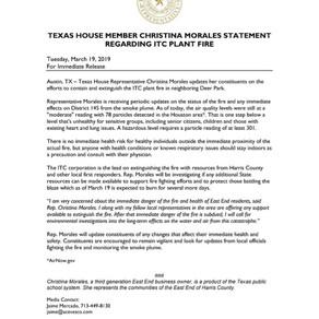 Statement Regarding ITC Plant Fire
