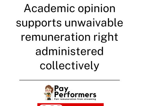 Academic opinion supports unwaivable remuneration right administered collectively