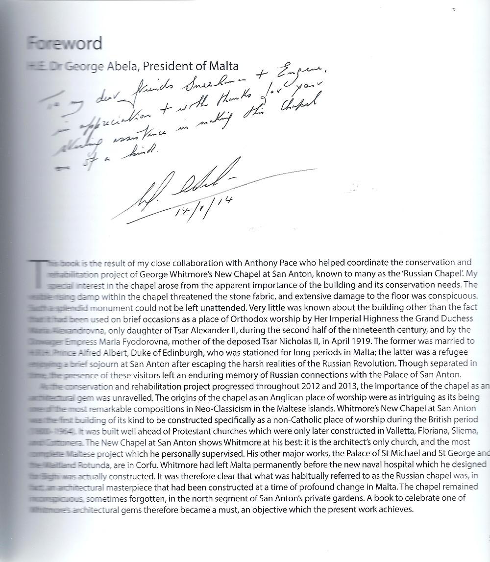Автограф Президента Мальты для Бодиштяну