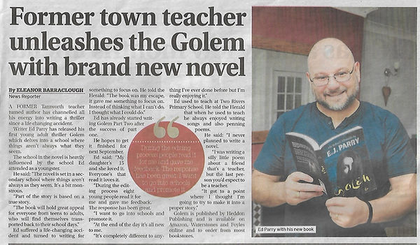 Tamworth herald article about author and writer Ed Parry from 19th Sep 2019