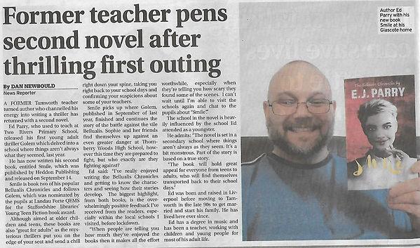 Smile novel mention in Tamworth Herald