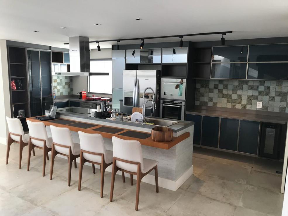 Cozinha frentes vidro metalizzato titan