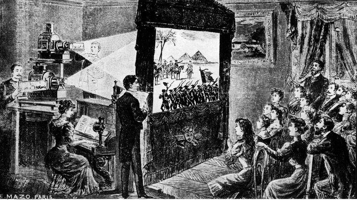 Charles-Émile Reynaud proietta Pauvre Pierrot nel suo Teatro Ottico. Incisione di Louis Poyet (1892)