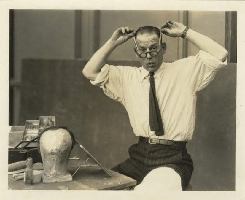 Lon Chaney with his famous make-up kit