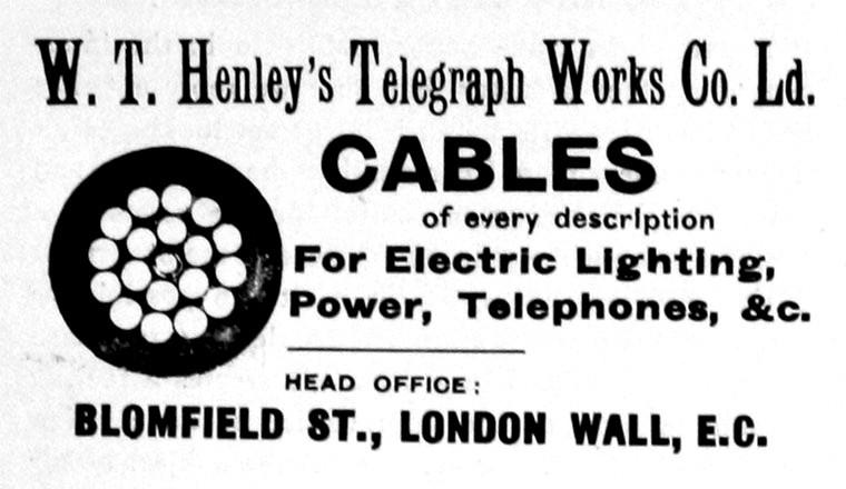 Inserto pubblicitario per W.T. Henley's Telegraph Works Company Ltd.