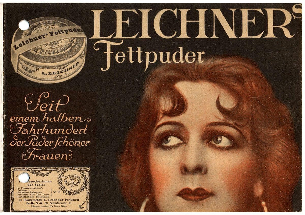"Pubblicità per ""Leichner's Fettpuder"" nel booklet del Berlin Variety Stage Scala, 1926 © Stadtmuseum Berlin"