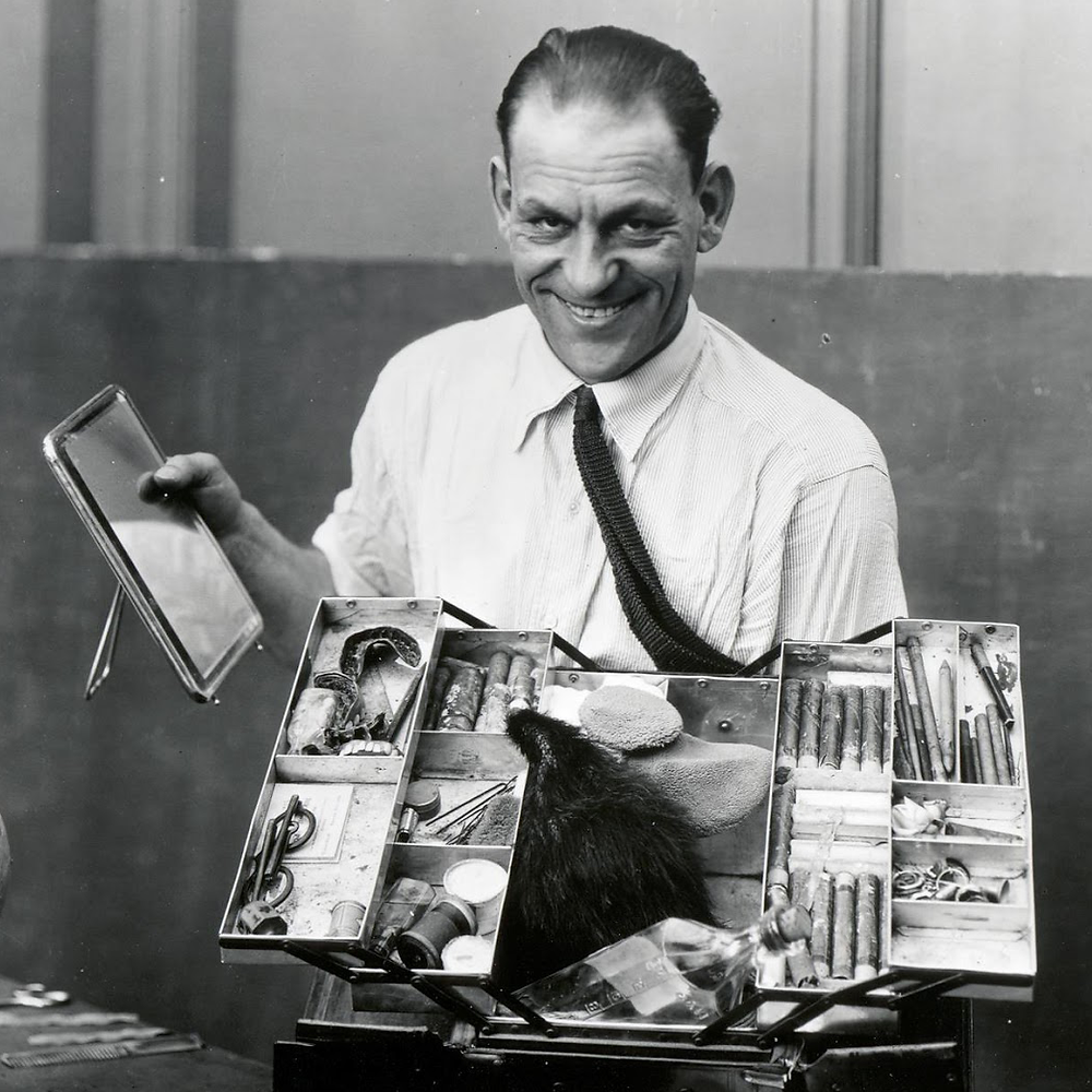 Lon Chaney with makeup kit