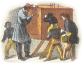 Lithographie von F. Schlotterbeck, aus: Karl Thienemann: Der Jahrmarkt. Sehenswürdigkeiten und Scenen in bunter Reihe, Esslingen 1843