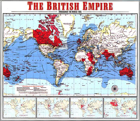 Mappa dell'Impero britannico nel 1905