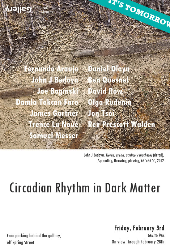 I am happy to announce that I will have my art displayed next to the works of some great artists at Fernando Luis Alvarez Gallery for a group show, Circadian Rhythm in Dark Matter. The opening is this Friday, February 3rd, from 6-9