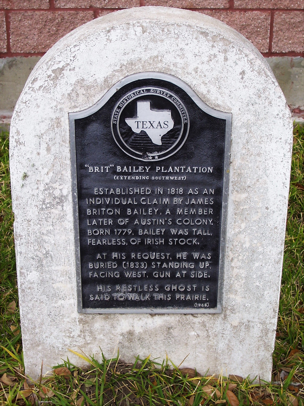 Brit Bailey Plantation Texas Historical Marker, Brazoria County, Texas
