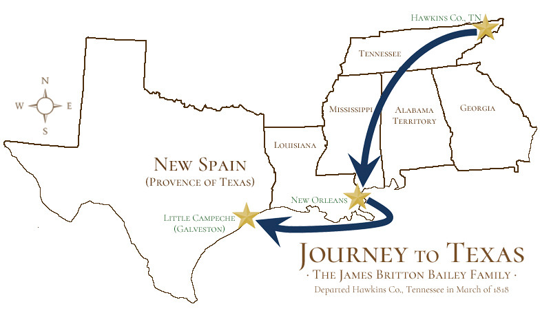 Map of James Britton Bailey's Journey to Texas
