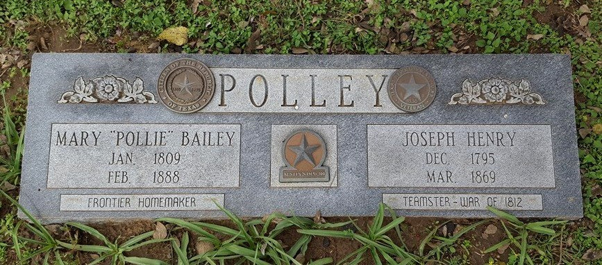 Gravestone of Mary Bailey Polley and Joseph Henry Polley