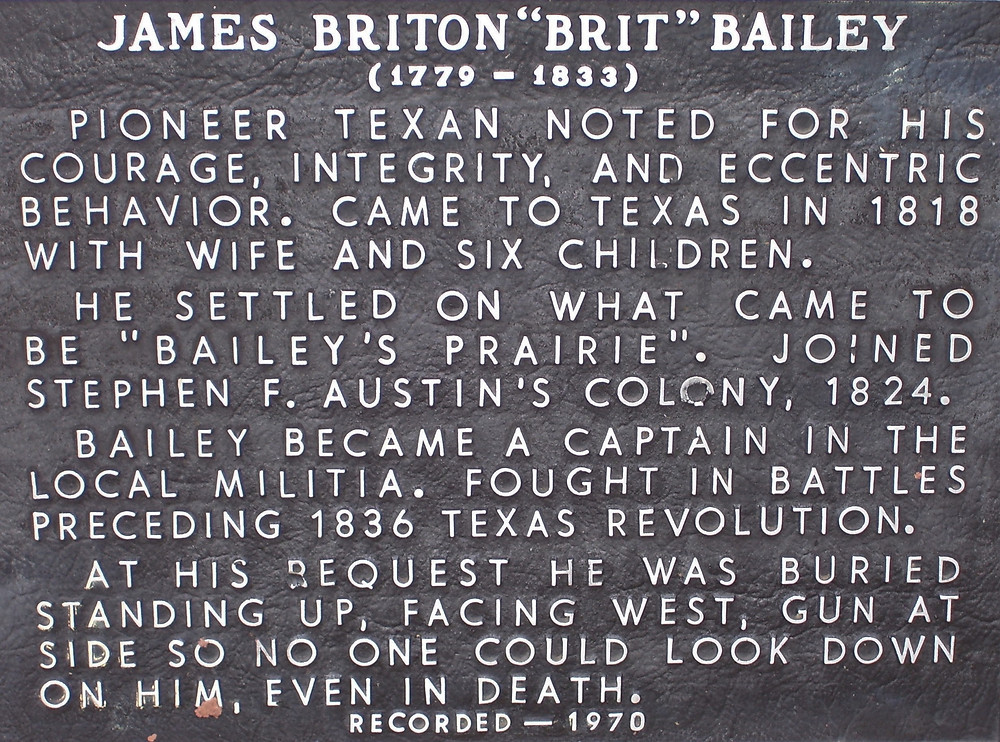 James Britton Bailey, Texas Historical Marker, Brazoria County,  Texas