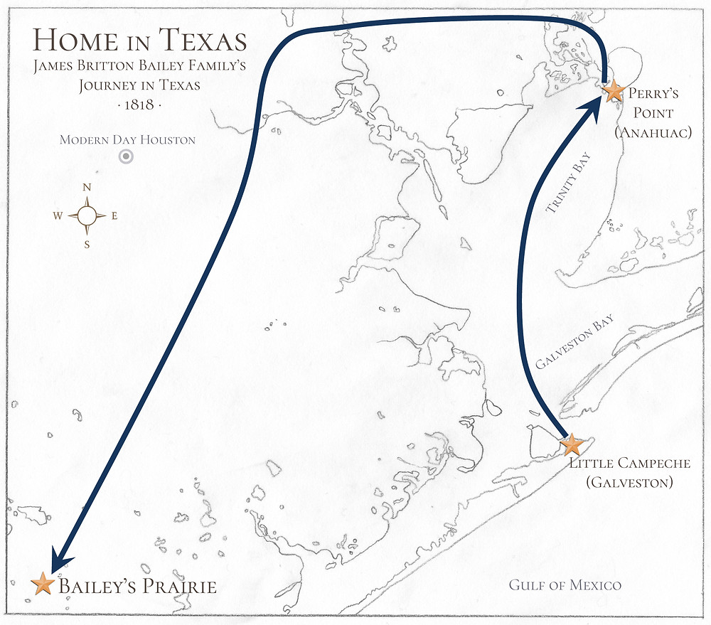 Map of James Britton Bailey's Journey in Texas