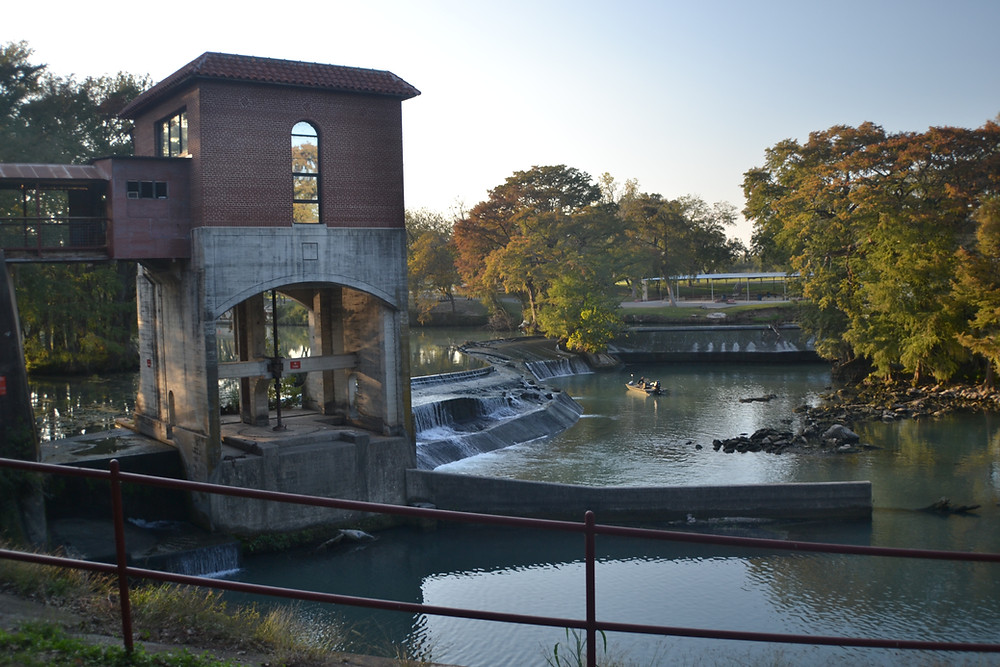 View of the Guadalupe River from the Powerplant Texas Grill, Seguin, Texas