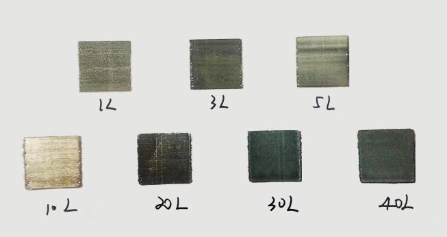 作製した銀ナノ粒子液を用いた印刷サンプル:積層数を変更(Springer Link HPより)