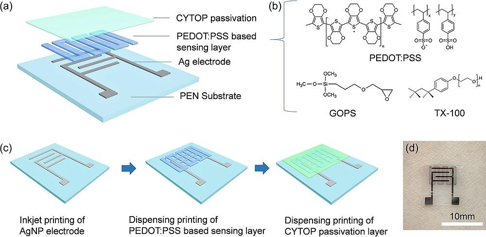(a)印刷された温度センサー構造の概略図。(b)PEDOT:PSSベースのセンシング層の材料の化学構造。(c)印刷された温度センサーの製造プロセス。(d)皮膚に取り付けられた印刷温度センサーの写真。(Scientific Report より)