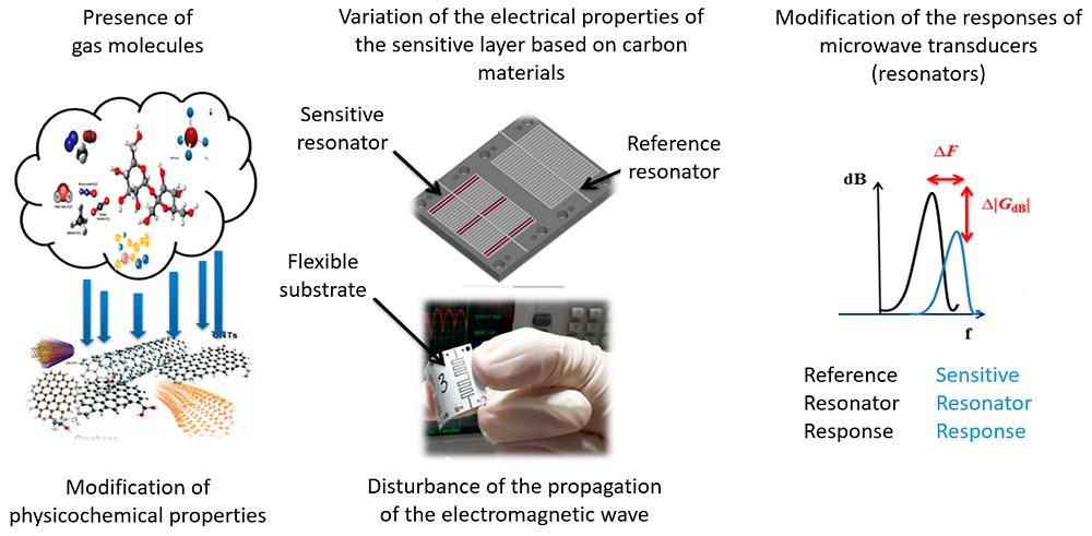 差動マイクロ波化学ガスセンサーの動作原理の概要(sensors HPより)