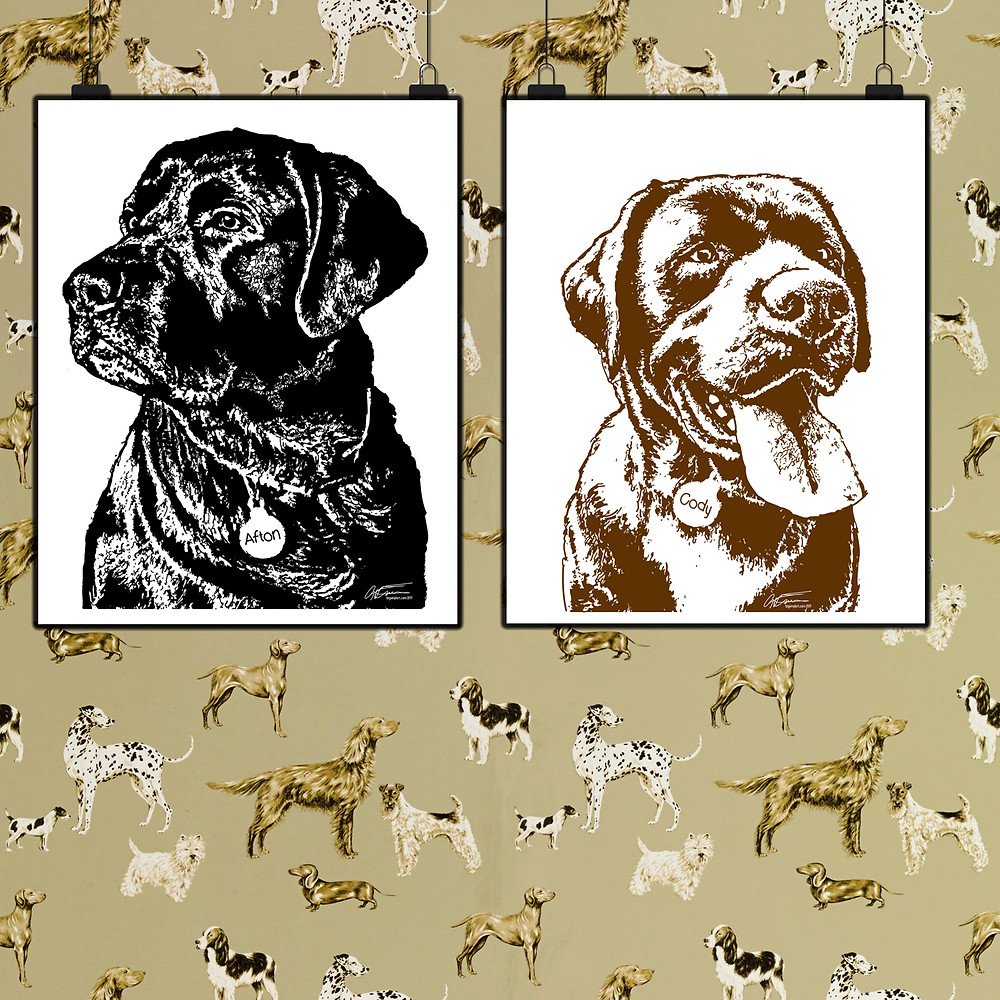Black and Brown Labradors Afton and Cody's vinyl drawings by artist Gary Faulkner