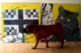 Pet artist Gary Faulkner's work being examined by his dog Hugo.