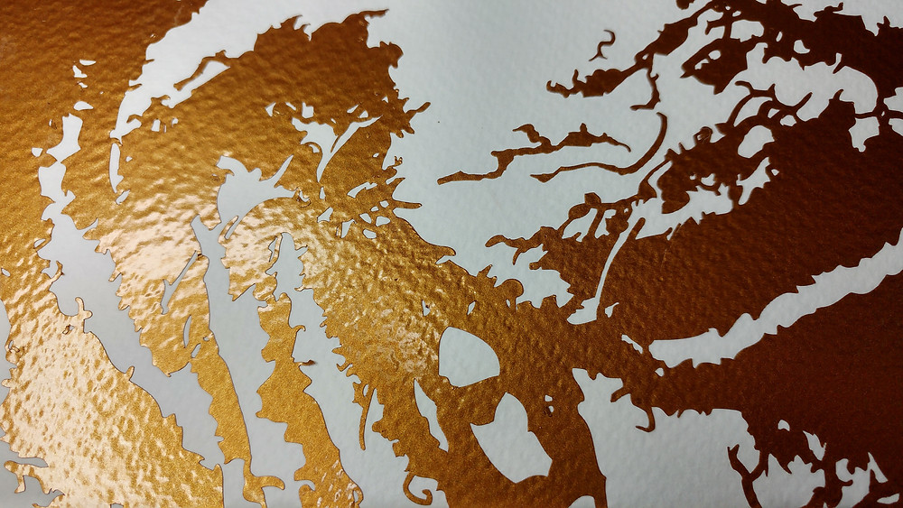 Metallic gold vinyl gives a stunning finish on the textured watercolour paper.