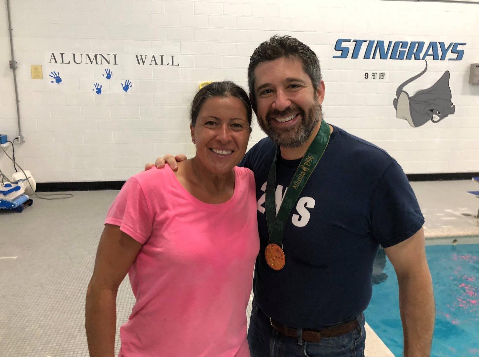 David Leit Sheila swim training