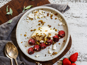 Roasted Strawberries With Rose Water Ricotta And Pistachio  Meringue