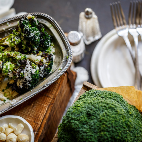 GENUINELY SOUTHERN FORESTS ROASTED BROCCOLI WITH MACADAMIA, SAFFRON SAUCE