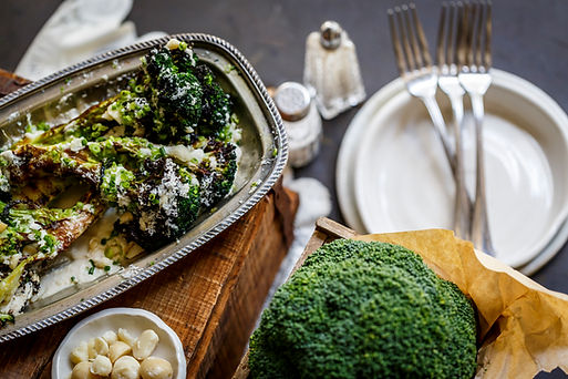 Roasted broccoli with macadamia saffron