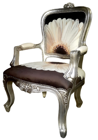 Victorian Style Chair with Silver leafing by Kaath