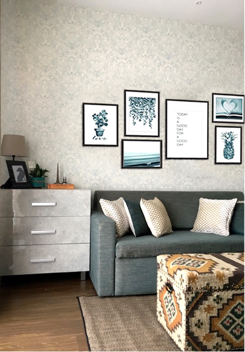 COLLAGE of prints. Wallpaper on the wall. Aqua teal combination