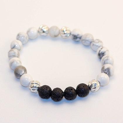 White Howlite & Sterling Silver Bracelet