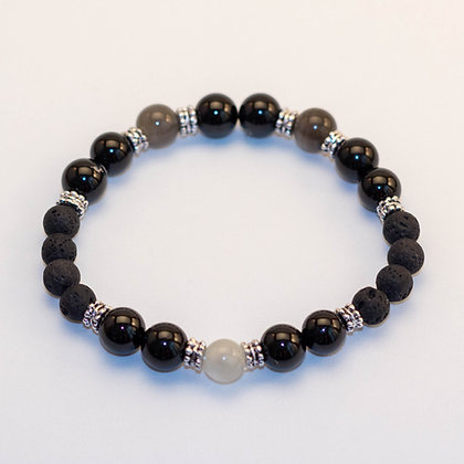 Black Tourmaline & Grey Moonstone Bracelet