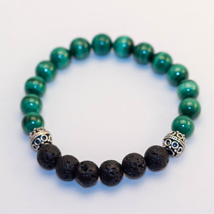 Malachite & Antique Sterling Silver Bracelet